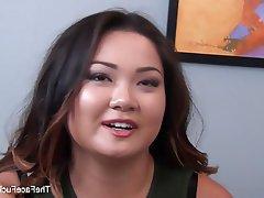 Asian, Blowjob, Cumshot, Interracial