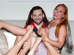 Stockings, Redhead, Foot Fetish, Footjob, Whore