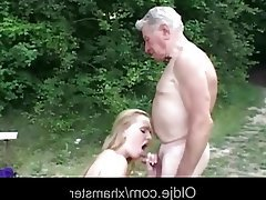 Big Boobs, Blonde, Blowjob, Old and Young, Outdoor