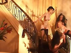 Lesbian, Lingerie, Stockings, Threesome